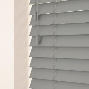 medium grey wooden Venetian blinds with cords