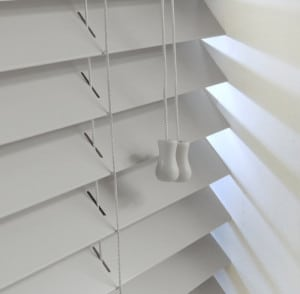 light grey wood venetian blinds with cords