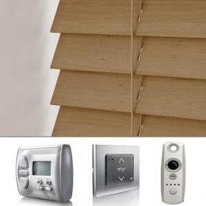 Tawny Battery Powered Wood Venetian Blind