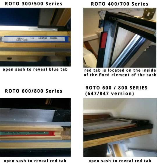 Roto window size identification guide