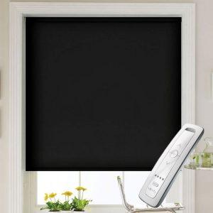 black blackout electric motorised remote control roller blinds