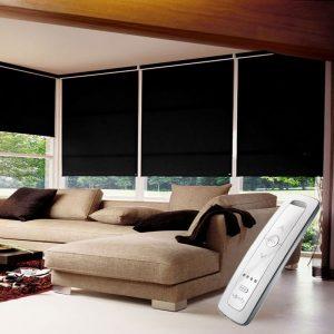 black electric motorised remote control roller blinds