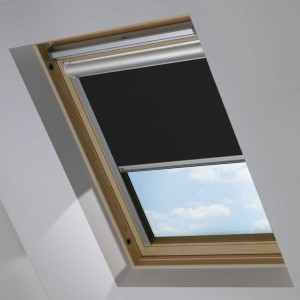 Black Motorised Electric Solar Powered Remote Control Skylight Blinds