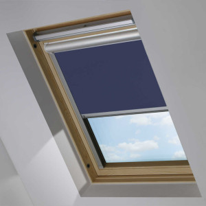 Blue Motorised Electric Solar Powered Remote Control Skylight Blinds