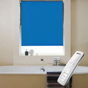 bright blue blackout electric motorised remote control roller blinds