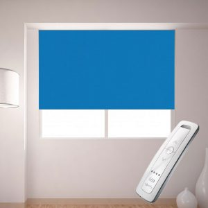 bright blue electric motorised remote control roller blinds