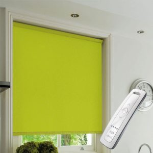 lime green blackout electric motorised remote control roller blinds