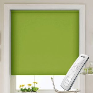 bright green electric motorised remote control roller blinds