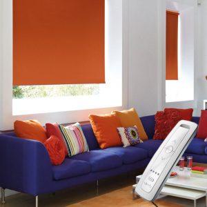 bright orange blackout electric motorised remote control roller blinds