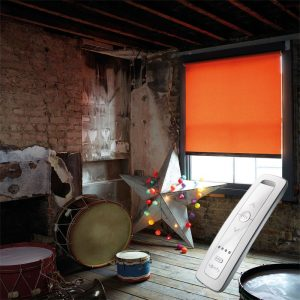 bright orange electric motorised remote control roller blinds