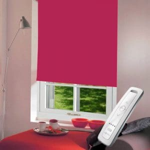 bright pink electric motorised remote control roller blinds