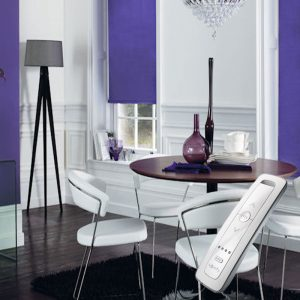 bright purple electric motorised remote control roller blinds