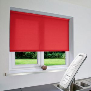 bright red electric motorised remote control roller blinds