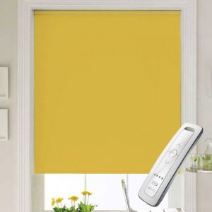 bright yellow electric motorised remote control roller blinds