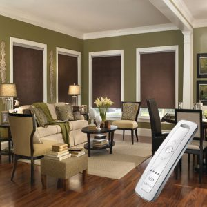 brown electric motorised remote control roller blinds