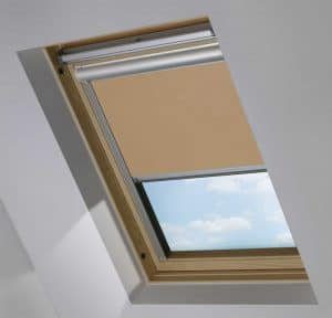 Brown Electric Motorised Solar Powered Remote Control Skylight Blinds