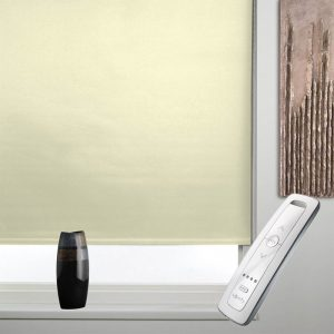 cream blackout electric motorised remote control roller blinds