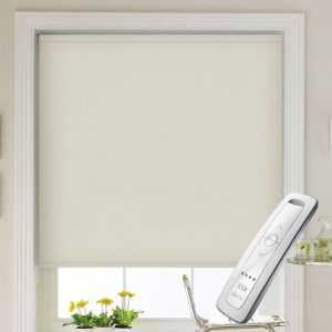 cream electric motorised remote control roller blinds