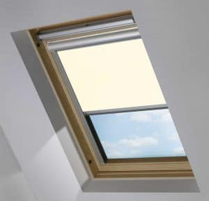 Cream Electric Motorised Solar Powered Remote Control Skylight Blinds