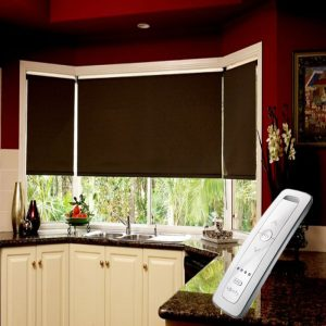 dark brown blackout electric motorised remote control roller blinds