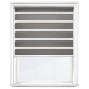 Dark Grey Day and Night Blinds Open