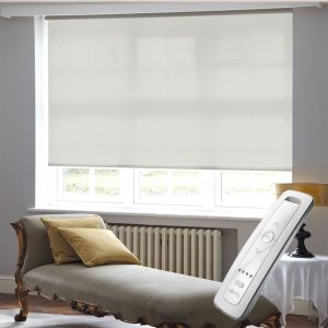 light dove grey electric motorised remote control roller blinds