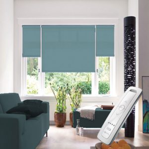 duck egg blue electric motorised remote control roller blinds