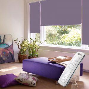 dusky purple electric motorised remote control roller blinds