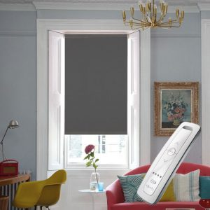 grey blackout electric motorised remote control roller blinds