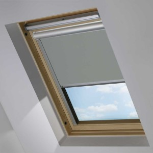 Grey Motorised Electric Solar Powered Remote Control Skylight Blinds