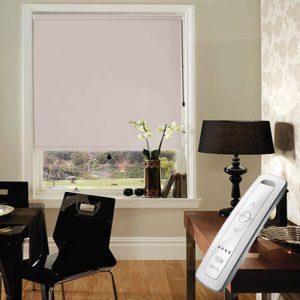 light brown blackout electric motorised remote control roller blinds