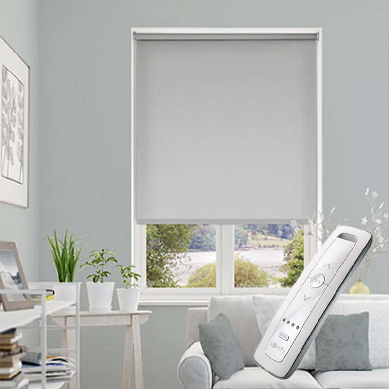 Motorised Electric Light Dove Grey Blackout Roller Blind