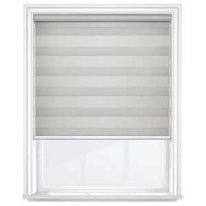 Light Dove Grey Day and Night Blinds Closed