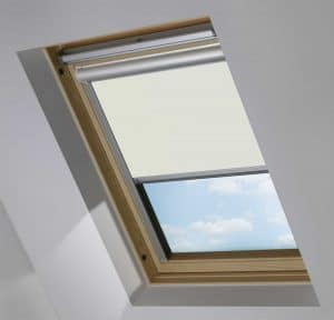 Light Grey Electric Motorised Solar Powered Remote Control Skylight Blinds