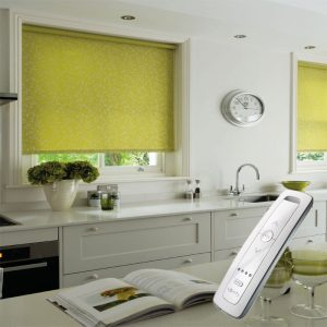 lime green electric motorised remote control roller blinds