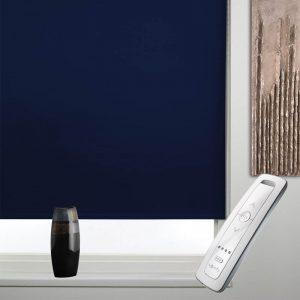 navy blue blackout electric motorised remote control roller blinds