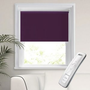 purple blackout electric motorised remote control roller blinds