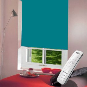 turquoise electric motorised remote control roller blinds