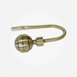 Brass Ribbed Ball Curtain Holdback
