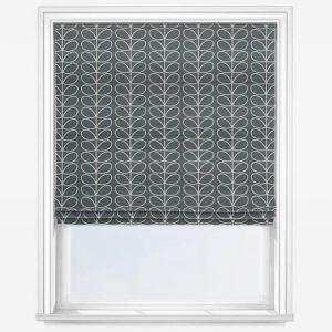 Orla Kiely Cool Grey Linear Stem Roman Blind